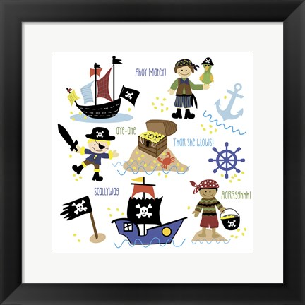 Framed Pirates & Ships Print