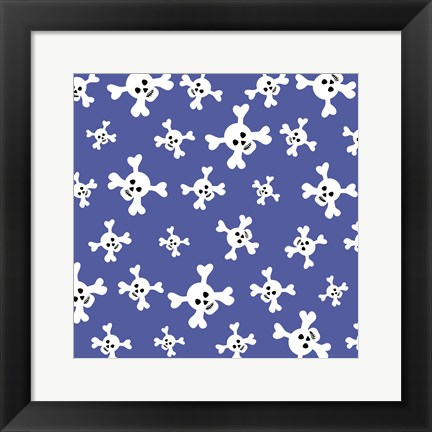 Framed Skull Pattern Blue Print