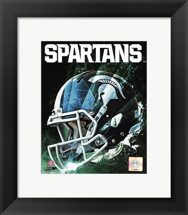 Framed Michigan State Spartans Helmet Composite Print