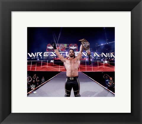 Framed Seth Rollins with the Championship Belt Wrestlemania 31 Print