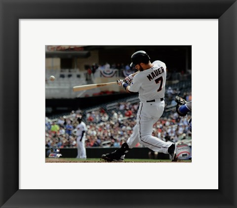 Framed Joe Mauer 2015 Action Print