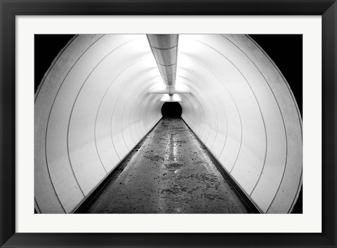 Framed Singapore, Illuminated Pedestrian Tunnel, Paths Print