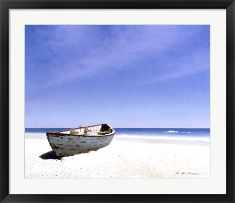 Framed Beached Boat 3 Print