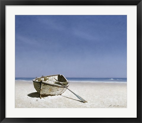 Framed Beached Boat 2 Print