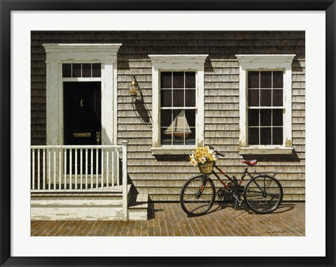 Framed Bicycle's Basket Of Flowers Print