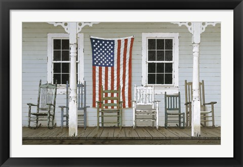 Framed Chair Family With Flag Print