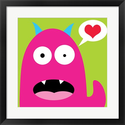 Framed Pink Monster- Green Print