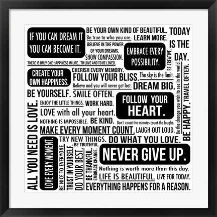 Framed Never Give Up 6 Print