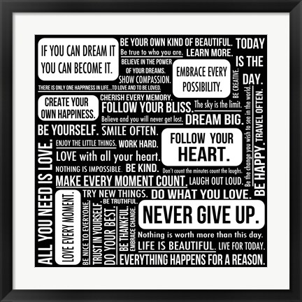 Framed Never Give Up 7 Print