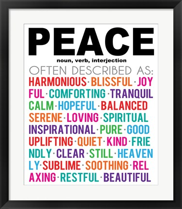 Framed Peace Definition Print