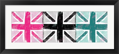 Framed Union Jack Three Square I Print