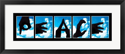Framed Peace Sign Language Print