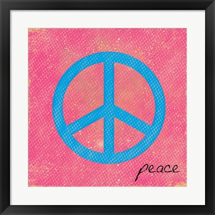 Framed Peace Blue and Pink Print