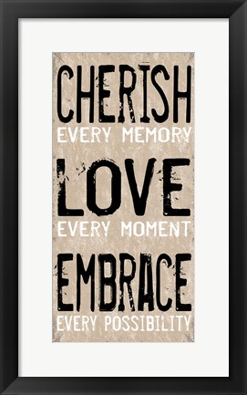 Framed Cherish Love Embrace 1 Print