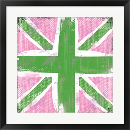 Framed Union Jack Pink and Green Print