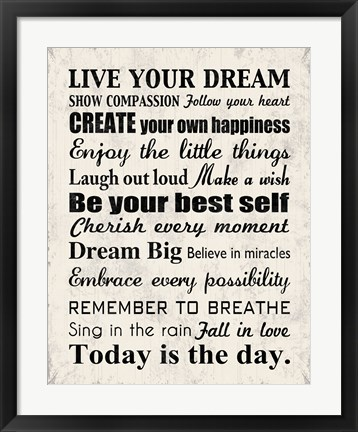 Framed Live Your Dream 8 Print