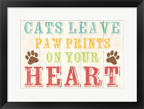 Framed Cats Leave Paw Prints 1 Print