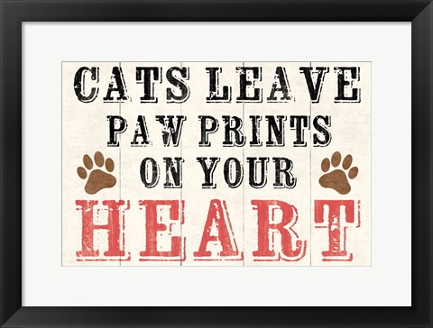 Framed Cats Leave Paw Prints 2 Print