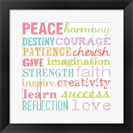 Framed Peace Harmony Destiny Print