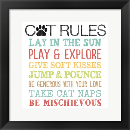 Framed Cat Rules Print