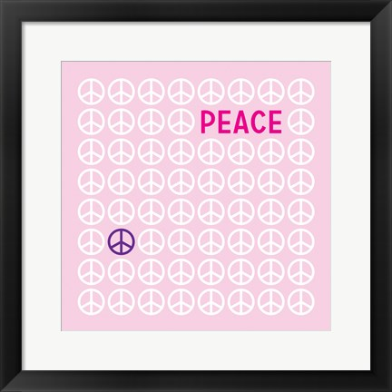 Framed Peace Pink Print