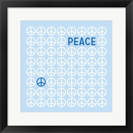 Framed Peace Blue Print