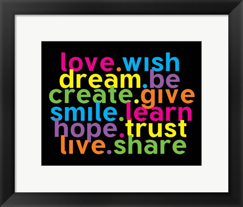 Framed Love Wish Dream Print