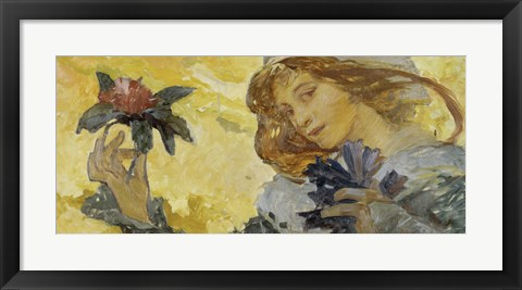 Framed Woman with Rose Print
