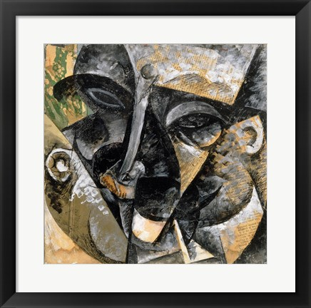 Framed Dynamism of Man's Head 1914 Print