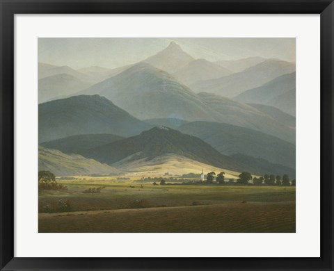 Framed Landscape with Mountains Print