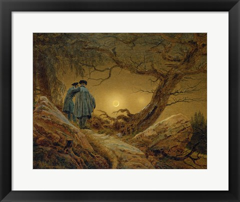 Framed Two Men Observing the Moon, 1819-1820 Print