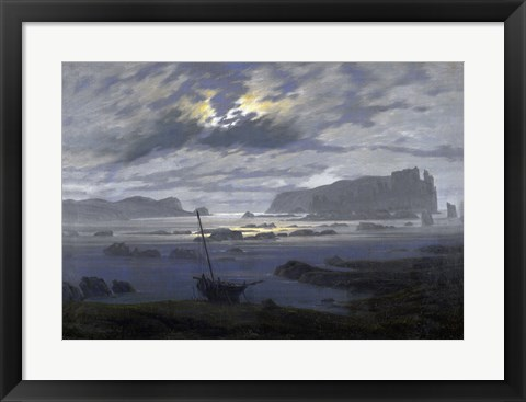 Framed Northern Sea by Moonlight Print