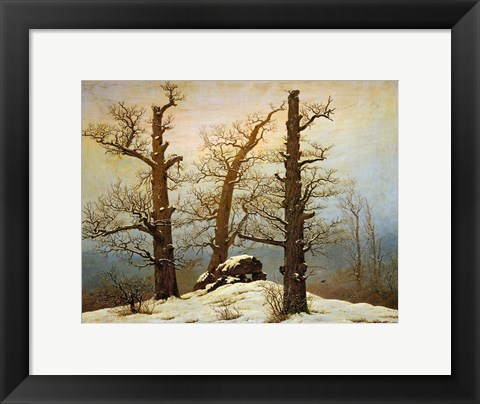 Framed Megalithic Cairn in the Snow, c. 1820 Print