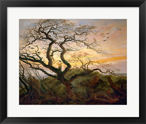 Framed Tree with Ravens and Prehistoric Tumulus on the Baltic Coast Print