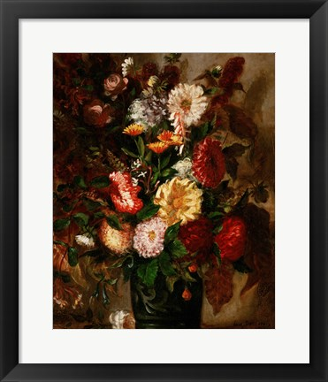 Framed Flowers in an Earthenware Pot, 1847 Print