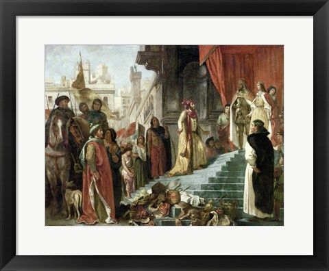 Framed Return of Columbus, Audience before King Ferdinand and Isabella of Spain, 1839 Print