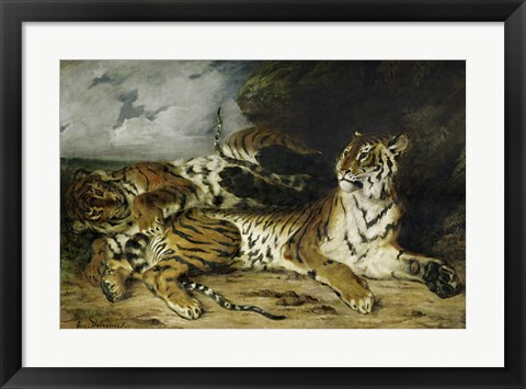 Framed Young Tiger Playing with its Mother, 1830 Print