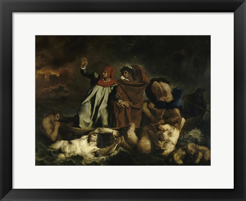 Framed Dante and Virgil in Hell (Dante's Boat) 1822 Print