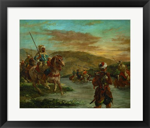 Framed Fording a River in Morocco, 1858 Print
