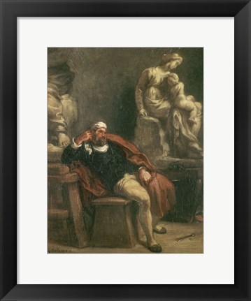 Framed Michelangelo in His Studio, c 1850 Print