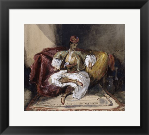 Framed Oriental Man Seated on a Divan with a Narghile, c. 1824-1825 Print