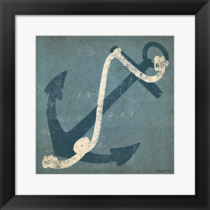 Framed Nautical Anchor Blue Print