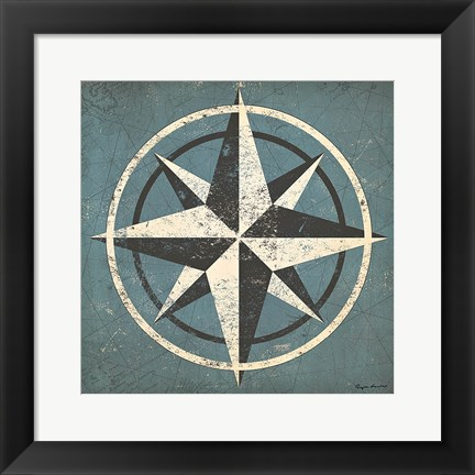 Framed Nautical Compass Blue Print