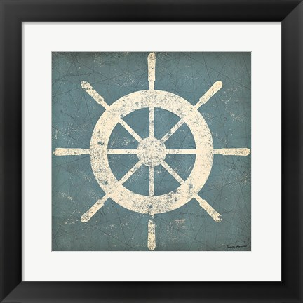 Framed Nautical Shipwheel Blue Print