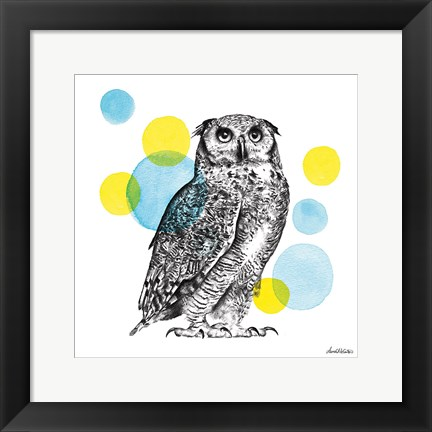 Framed Sketchbook Lodge Owl Print