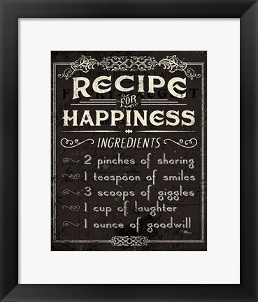 Framed Life Recipes IV Print