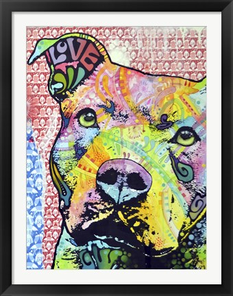 Framed Thoughtful Pit Bull This Years Love 2013 Part 1 Print