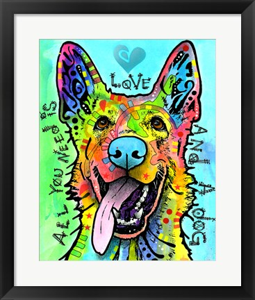 Framed Love And A Dog Print