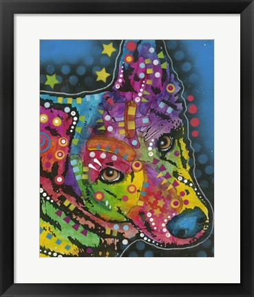 Framed Colorful Dog on Blue Print