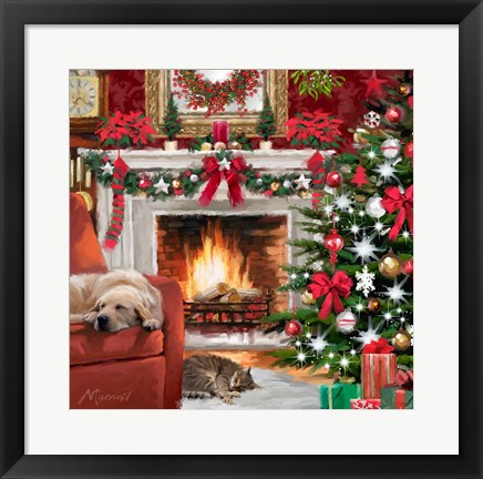 Framed Christmas Pets Print